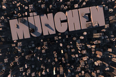 Top view of urban city in 3D. With skycrapers, buildings and name München Royalty Free Stock Image