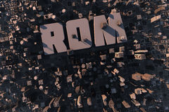 Top view of urban city in 3D. With skycrapers, buildings and name Rom Royalty Free Stock Photography