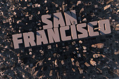 Top view of urban city in 3D. With skycrapers, buildings and name San Francisco Stock Photos