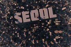 Top view of urban city in 3D. With skycrapers, buildings and name Seoul Royalty Free Stock Photography