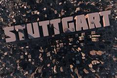 Top view of urban city in 3D. With skycrapers, buildings and name Stuttgart Royalty Free Stock Photo