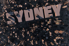 Top view of urban city in 3D. With skycrapers, buildings and name Sydney Royalty Free Stock Photos