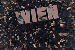 Top view of urban city in 3D. With skycrapers, buildings and name Wien Stock Photo