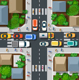 Top view of urban. Top view of the city. Top view of urban crossroads with cars and houses Royalty Free Stock Image