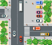 Top view of urban. Top view of the city. Top view of urban crossroads with cars and houses Stock Photos