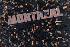Top view of urban Montreal city. Top view of urban city in 3D with skycrapers, buildings and name Montreal Stock Image