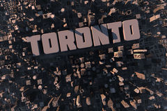 Top view of urban Toronto city. Top view of urban city in 3D with skycrapers, buildings and name Toronto Stock Photo