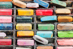 Top view of used artistic dry pastels Stock Image