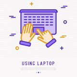 Top view of using laptop. Hands on touchpad vector illustration
