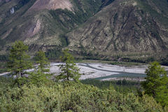 Top view of the valley of a mountain river. Stock Images