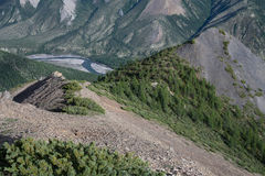 Top view of the valley of a mountain river. Royalty Free Stock Images
