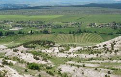 top view of valley from mountain White Rock at Belogorsk township, Crimea Royalty Free Stock Photo