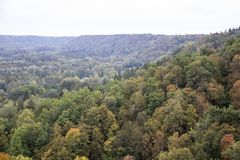 Top view of the valley of the river Gauja and Turaida castle Latvia royalty free stock photography