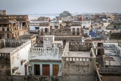 Top view of Varanasi city rooftop Stock Image