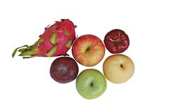 Top view variety of fruits stock photography