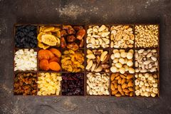 Free Top View Variety Of Nuts And Dried Fruits Royalty Free Stock Photography - 159243787