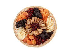Top view of various dried exotic fruits on white background Stock Image