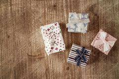 Top view of various gift boxes Royalty Free Stock Photography