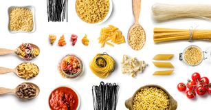 Top view of various Italian pasta royalty free stock photo