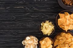 top view of various junk food and snacks stock images