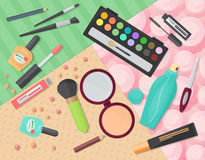 Top view of various makeup decorative cosmetics products on colorful patterns background. Vector illustration. Royalty Free Stock Image