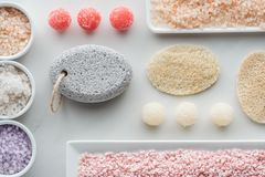 top view of various sea salt sponges and handmade soap stock photo