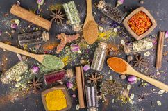 Various spices seeds royalty free stock photography