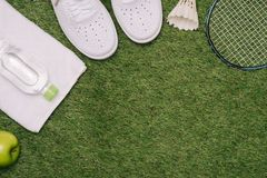 Top view of various sport equipment on green grass.  royalty free stock image