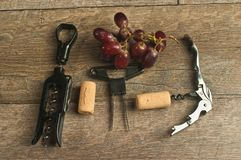 Top view, of various wine openers and red grapes. Top view, close up of various wine cork openers with a bunch of freshly picked, ripe red grapes on a rustic royalty free stock photos