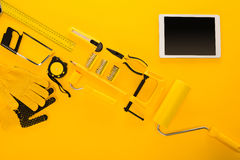 Top view of various work tools, equipment and digital tablet Royalty Free Stock Photography