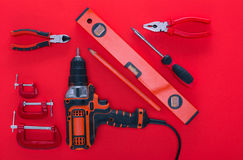 Top view of various work tools and pencil Royalty Free Stock Images