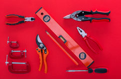 Top view of various work tools and pencil Stock Image