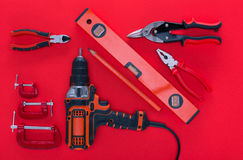 Top view of various work tools and pencil Stock Images