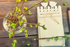 Top view Vase with branches with young shoots of greenery and blurred notebook on the rustic wooden table. Spring awaking concept. Vintage toning. Selective royalty free stock image