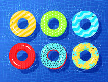 Top view vector collection of rubber rings. Floating on swimming pool water Stock Photo