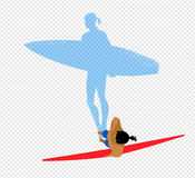 Top view vector illustration of surfer Royalty Free Stock Photo