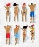 Top view vector set of sunbathing people Royalty Free Stock Photo