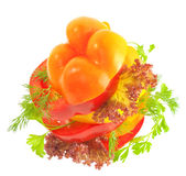Top view of vegetables sandwich with tomato pepper Royalty Free Stock Photo
