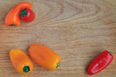 Top view of vegetables on a wooden Board Royalty Free Stock Images