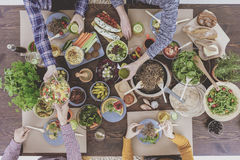 Top view of vegetarian brunch Royalty Free Stock Photo