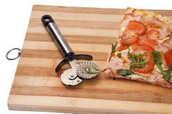 TOP VIEW VEGETARIAN RUCOLA SLICE PIZZA Royalty Free Stock Photo