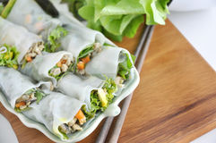 Top View of Veggie Rolls Dish Royalty Free Stock Photography