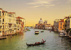 Top view of Venice, the Grand canal and Santa Maria della Salute at sunset Stock Photography