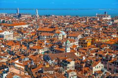 Top view on Venice from San Marco tower. Royalty Free Stock Photo