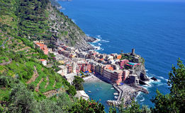 Top view of Vernazza village, Italy Stock Photography