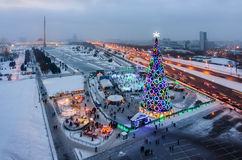 Top view victory Park on Poklonnaya Hill in winter, Moscow Stock Photos