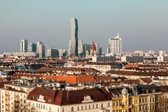 Top view of Vienna, modern buildings Stock Image
