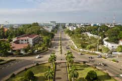 Top View of Vientiane Capital. From Patuxay Window, Laos Royalty Free Stock Photo