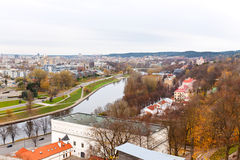 Top view of Vilnius and the River Neris Royalty Free Stock Image