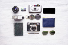 Top view of vintage camera and travel items Stock Photo